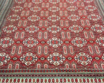 Bright carpet rug 100% wool oriental pattern red green and black color warm vintage rug old big rug retro perfect for home and restaurant.