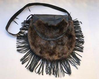 Nutria fur hand made bag .