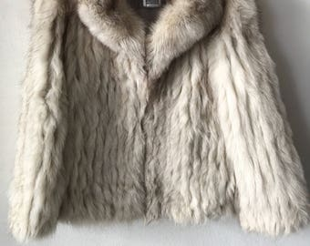 Trendy Short Retro Style Genuine Polar Fox Fur Coat Comfy And Rich Size Small.