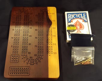 Portable 3 Player / Travel Cribbage Board with Pegs and Cards - Katalox