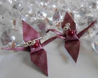 Purple cranes origami earrings raspberry pearl beads