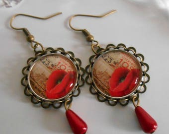"""Bronze stamped earrings """"Traveler poppy"""""""