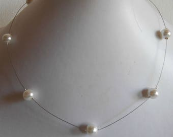Simple wedding necklace white pearls