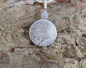 Etched Sterling Silver Pendant with Tree (123117-007)