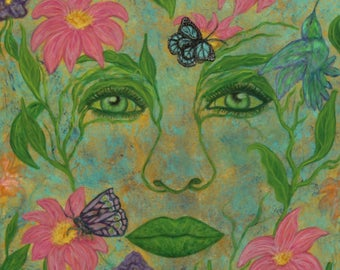 Beauty-Nature-spring-woman-portrait-surreal-flowers-hummingbird-butterfly-vines-original painting-art-bright-girl-expressionism