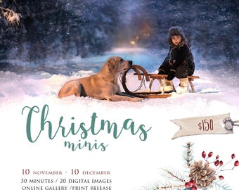 Christmas mini session template, Holiday Mini Session Template, Christmas Photography Marketing, instant download