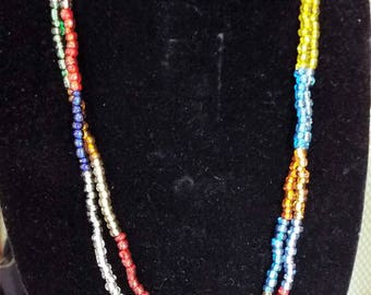 Multi- coloured seed bead necklace
