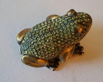Frog rhinestone and metal trinket box