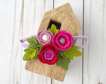 Felt Flower Headband // Baby Girl Nylon Headband // Felt flower crown // Birthday headband // Pink, Lilac, Red // kikiandbee