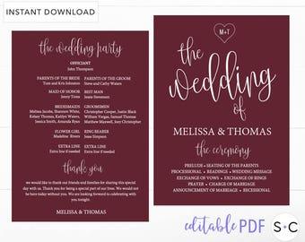 Burgundy Wedding Program,Wedding Program Template, Boho Wedding Program, Program Template, Printable Program, Ceremony Program, Marsala