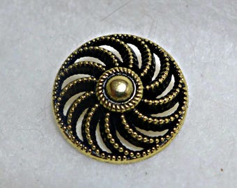 3 metal buttons - antique gold and black - 25mm