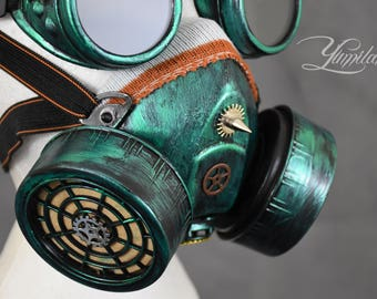Green Respirator Mask with Goggles | Steampunk gas mask | Burning Man Mask | Dust Mask | Steampunk cosplay | Steampunk mask