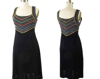 60s Mod Black Metallic Stripe Dress-1960s Knit Party Dress-60's Cocktail-A Line-Knee Length-Stretch-S-Sm
