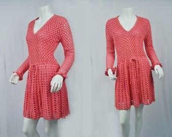 1970s Crochet Pink Crochet Dress/70's Mini Dress/Medium