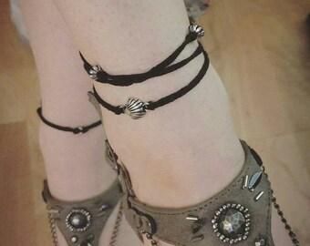 Anklet | Boho anklet | Wrap around anklet | Sea shell anklet | Black hemp anklet | Hemp anklet | Shell anklet | Beach anklet | Customize