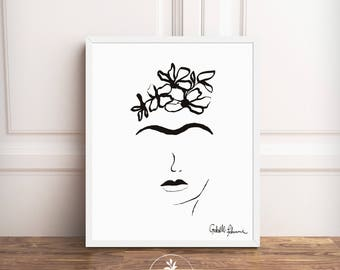 Frida Kahlo, digital download, black and white minimalist, wall decor, printable art, Frida Drawing by Faboomie