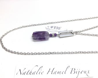 48 inch necklace made of amethyst, swarovski and stainless steel rectangle