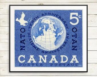 P020 Posters: Canada Nato, NATO, peacekeeping, North Atlantic Treaty Organization, NATO poster, globe print, world map art, antique map art