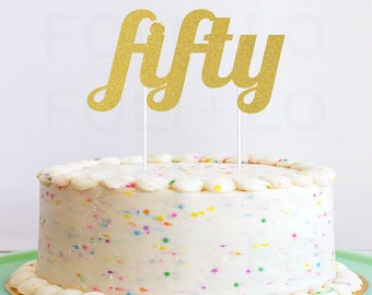 50th Cake Topper in Glitter! | Happy Birthday Cake Decoration | Birthday Party Decor | Cute Cake Topper | Gold Party Decoration