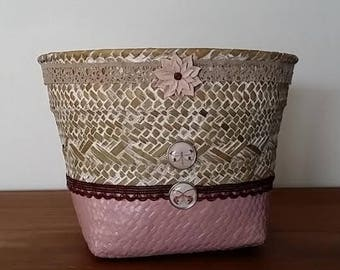 decorated with wicker basket