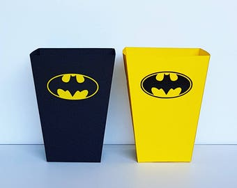 Batman Popcorn Boxes. Favor Boxes. Set of 6 Box