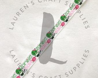 "Zombie Bait Ribbon | Zombie Ribbon | Zombie Hair Bow | Halloween Ribbon | Hairbow Ribbon | US Designer Ribbon | 7/8"" Ribbon | Grosgrain"