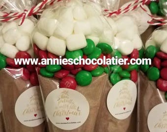 One dozen hot cocoa chocolate cones with green and red M&M's candy topped with marshmallows holiday christmas party favors gifts