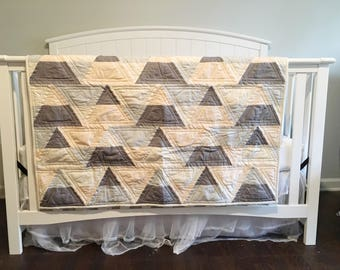 Soft and Sweet Triangles- Baby Quilt- Toddler Quilt