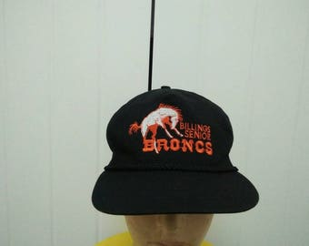 Rare Vintage BILLING SENIOR BRONCOs Big Logo Embroidered Cap Hat Free size fit all Made in USA