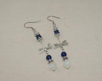 Dragonfly and semi-precious stones and semi precious Earrings: Cincinnati & white adoreite and lapis lazuli