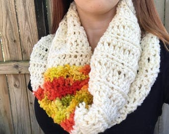 Chunky, Soft Handspun Yarn Cowl, Crochet Loop Scarf, Colorful Fall Accessories, White / Red / Orange