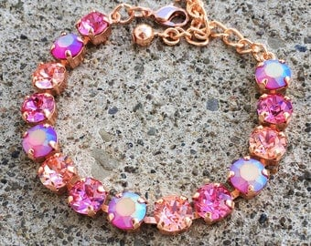 ROSIE Swarovski crystal 8mm rose gold bracelet with rose, peach rose, and fuchsia glacier matte crystals