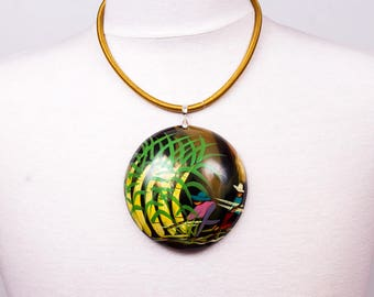 Hand painted Horn pendant necklace