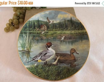 SALE 1986 Knowles Collector Plate - The Pintail by Bart Jerner, Living with Nature, Jerner's Ducks, Wildlife Society