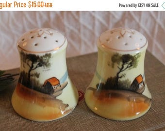 SALE Pair of Porcelain Salt and Pepper Shakers with Hand Painted Trees and Farm Scene - Made in Japan