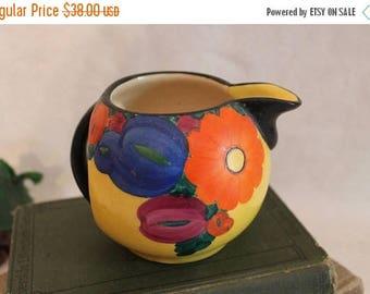 SALE Collectible J Mrazek Creamer Pitcher ~ Czech Peasant Art Pottery ~ Art Deco ~ 1920s
