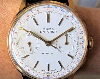 Gents 1960s GP Ollech & Wajs Swiss Emperor 17J Mechanical Chronograph Watch V7730 Servicd