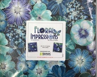 Kanvas - Floral Impression - Gold Metallic - Turquoise Layer Cake - 42 Ten Inch Squares - Layer Cake