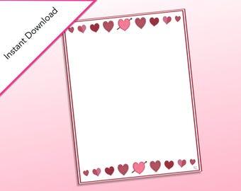 Heart Stationary Printable, Classroom Valentine's Day Cards, Happy Valentine's Day, Valentine's Party, Stationary for Valentine's Day