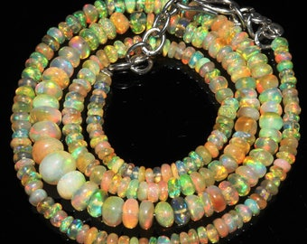 "52 Ctw 1Necklace 3to7 mm 19"" Beads Natural Genuine Ethiopian Welo Fire Opal ET148"