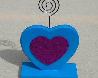Picture holder in dark turquoise and purple heart wood
