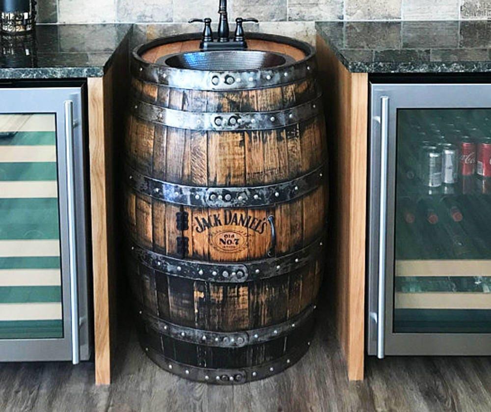 Man Cave Bar Sink : Whiskey barrel sink hammered copper rustic antique