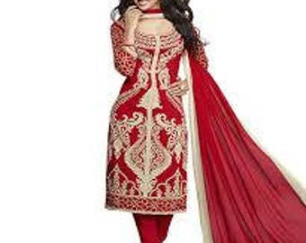 Printed Dress Fabric Indian Traditional Unstitched Suit Salwar Dupatta Set Bridal Red Tunic Top Pant Set Gift For Her Craft Fabric Material