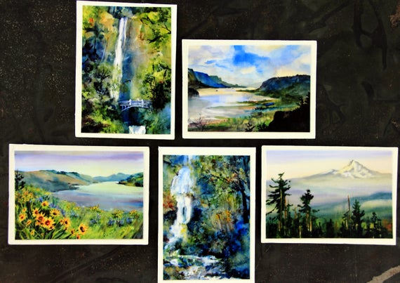 Columbia Gorge Magnets #3 - 2 1/2 x 3 1/2 signed handmade magnets from Bonnie White watercolor prints