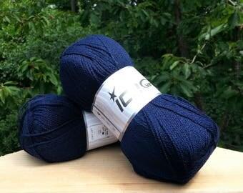 Knitting yarn. Navy Blue. Lot of 2 Skeins Ice Yarns. Acrylic yarn. Yarn for knitting. Vegan Friendly!