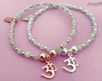 Sterling Silver/Rose Gold Ohm Charm Bracelet with Aquamarine Gemstone Beads