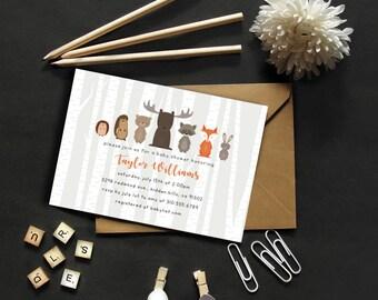 Woodland Creatures Invitation // Baby Shower Invitation // Forest Friends // Digital Invitation // Woodland Friends