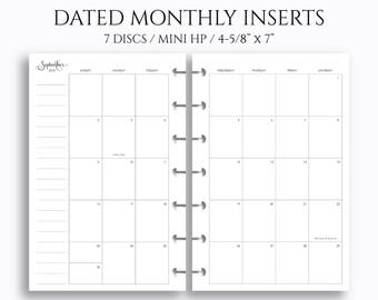 DATED MONTHLY CALENDAR for Happy Planner Happy Planner