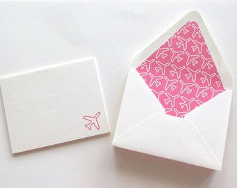 Airplane Notecards - Pink and White