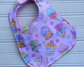 Bib - Baby Girl Cute as a Cupcake - Bib for Baby Girl - Baby Bib Shower Gift - Flannel and Terry Rainbow Baby Bib